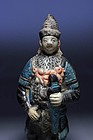 High quality Chinese Ming pottery soldier, w. sword!
