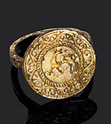 Medieval seal matrix guilded silver ring, 15th. cent.