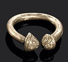 Viking or Migration period silver ring w. animal heads!