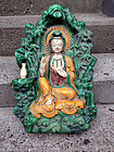 Sancai-glazed architectural fitting, Guanyin in Grotto