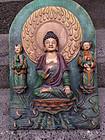 Ming Sancai pottery architectural fitting of Buddha!
