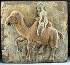 Huge Chinese Wei sculptural pottery tile, camel rider