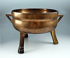 Large renaissance European bronze tripod cauldron!
