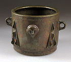 A museum quality medieval hispano moorish bronze mortar!
