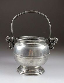 Extremely rare 17th. century pewter pot w handle