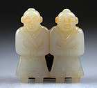 Chinese white jade carving pendant of Twins!