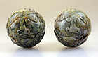 Pair of large Chinese jade carving balls!
