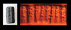 Interesting hematite cylinder seal, Syrian or Cappadocian, c. 1800 BC
