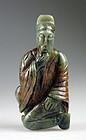 Large Chinese celadon green jade figure wise man!