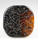 Large Chinese white jade carving pendant with mythical beasts!