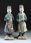 Superb set of Ming Dynasty pottery attendants w. Heart fans!