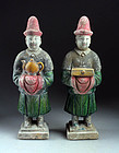 Pair of high quality Chinese Ming pottery figures, officials