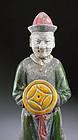 Superb Ming Dynasty pottery figure, gem quality, 30 cm!