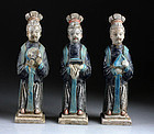 Three Chinese pottery court lady figures, Ming Dynasty!