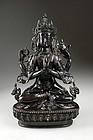 4-armed Shadakshari Lokeshvara bronze buddha, c.18th.cent