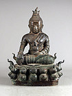Huge antique seated bronze buddha, South East Asia, 18th. cent.