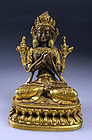 Fine antique Sino-Tibetan gilt bronze Buddha, 18th.-19th. cent.