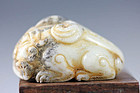 Ming-Qing Dynasty Chinese jade carving pendant horned lion!