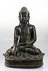Rare large early 19th. century Burmese Mandalay bronze buddha!