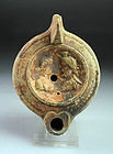 Roman Egypt pottery oil lamp with Isis and Serapis!
