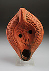 Roman North African pottery oil lamp with lion!