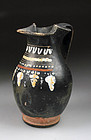 Fine Greek pottery Gnathian-ware trefoil oinochoe, 4th. cent. BC