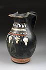Fine Greek pottery Gnathian-ware trefoil oinochoe, 4th. cent. BC