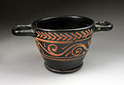 Fine Greek pottery Xenon ware black skyphos vessel!