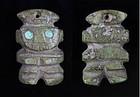 Pre Columbian Moche stone figural pendant bead, 300-500 BC