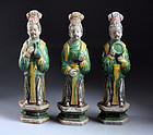 Three lChinese pottery court lady figures on plints, Ming Dynasty!