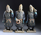 Set of three Chinese Ming pottery tomb figures - 'Persians'