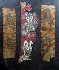 Lot of 3 Pre Columbian Peruvian textile, pre 1000 AD!