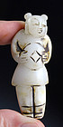 Old Chinese white jade carving pendant, man with cash coin