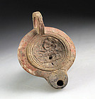Intact Roman Erotic pottery Oil lamp, 1st.-2nd. century AD!