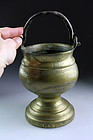 Rare German bronze church holy water vessel, Dated 1706!