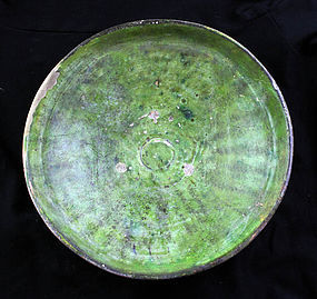 Large and rare Islamic pottery dish w green glace, 11th. cent.