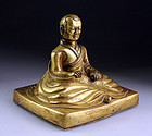 Superb Antique Sino-Tibetan gilt bronze buddhist monk / Lama!