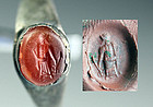 Roman silver seal ring with greek god carnelian intaglio!