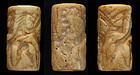 Important large Mesopotamian shell cylinder seal, Early Dynastic!