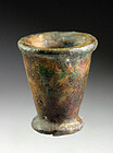 Rare Egyptian mottled green Faiance jar, New Kingdom 1480 -1220 BC