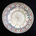 Large and superb Islamic pottery dish with caligraphy ca. 10th. cent!