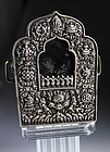 A choice 19c. Large Tibetan silver Gau box, relic container!