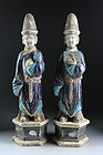 Pair of large high quality Chinese Ming pottery figures!