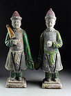 Choice pair of superb large China Ming pottery figures (2)!