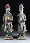 Nice pair of large China Ming pottery figures, 1368-1644!
