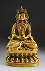Important large buddhist Tibetan or Chinese Gilt bronze  figure