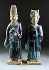 Male & female fully glazed tomb pottery attendants, Ming Dynasty!