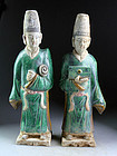 Matching fully glazed large tomb pottery attendants, Ming Dynasty!