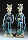 Pair of female fully glazed tomb pottery attendants, Ming Dynasty!