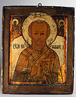 Wonderful wooden russian icon with a fine portrait of St. Nicolas